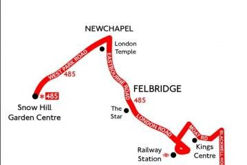 Snowhill to East Grinstead via Newchapel and Felbridge