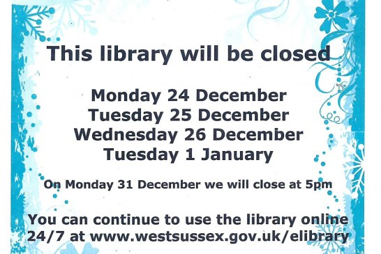 Christmas opening hours 2018: East Grinstead Library.