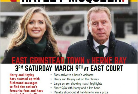 Harry Redknapp and Hayley McQueen at East Grinstead Town Football Club
